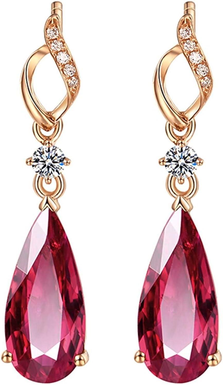 ANAZOZ 18K Oro Rosa Pendientes Mujer Pendientes Mujer Gota Turmalina Roja Blanca 2.98ct