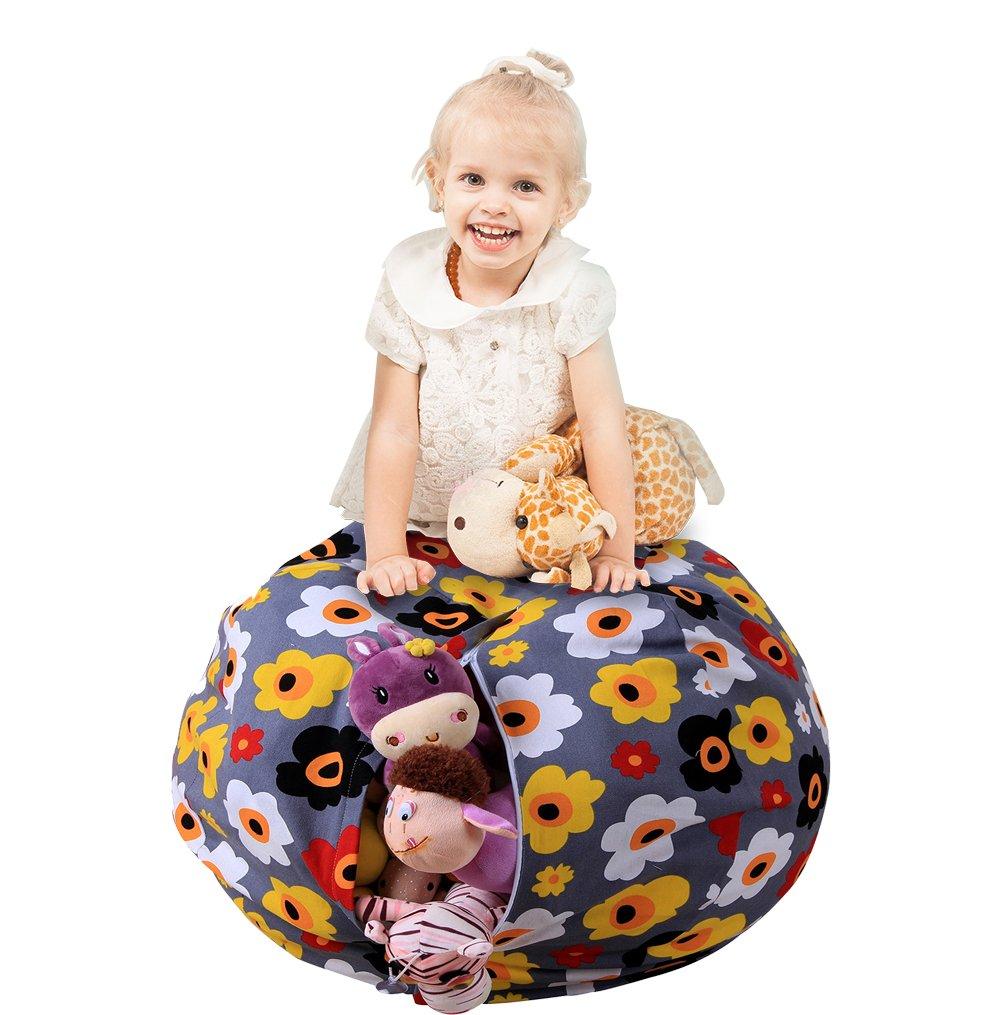Uozzi Bedding Stuffed Animal & Toys Storage Bean Bag Pouf - Perfect Organization for Extra Toys, Blanket, Towels, clothes, Pillows - Premium Quality Cotton Canvas(Floral, 26'')