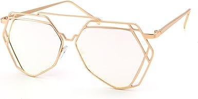 OVERSIZED VINTAGE RETRO Style Clear Lens EYE GLASSES Gold Octagon Fashion Frame
