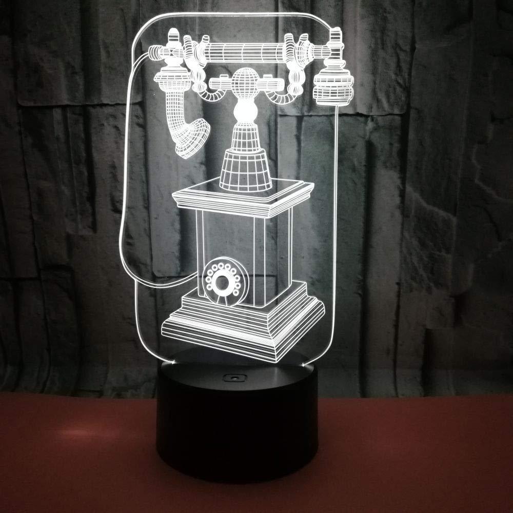 3D光学イリュージョンLEDランプ ナイトライト 驚きの7色 クイックタッチスイッチランプ 滑らかなアクリルフラット USB電源デコランプ 誕生日 クリスマス ホリデーギフト 子供 友人 電話 レトロ B07K5Y3BV9