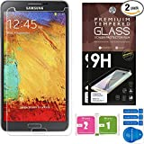 Samsung Galaxy Note 3 Screen Protectors [Set of 2] – Ballistic Tempered Glass – Maximum Impact Protection - 99.9% Crystal Clear HD Glass - No Bubbles – Cell Phone DIY® Premium Protector Kit