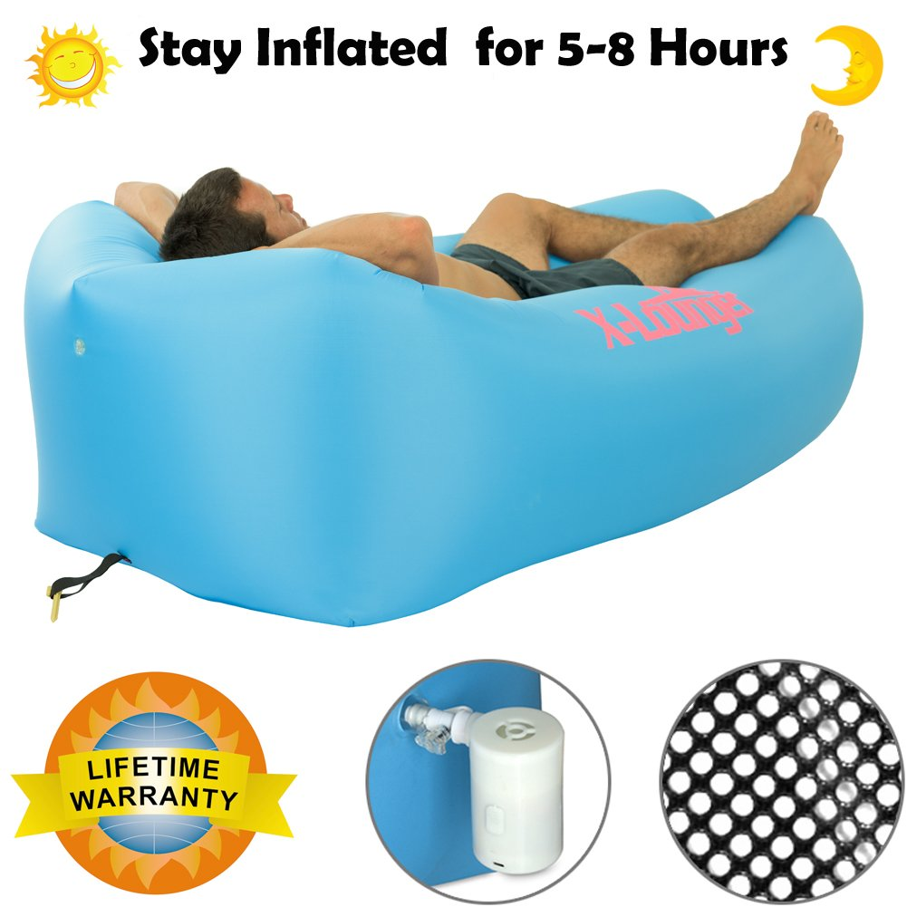 Inflatable Lounger with Air Valve and Mesh, 2017 New Hammock Inflatable Air Lounger Fast Inflate by Wind or Air Pump, Waterproof Air Bag Chair Sofa for Beach,Camp,Stay Inflated 5 to 8 Hours