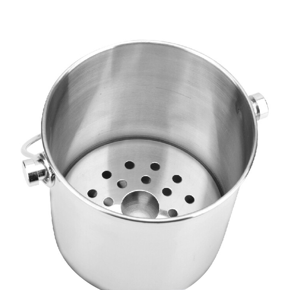 BESTONZON Premium Stainless Steel Ice Bucket with Strainer and Tong Beer Wine Champagne Cooler (2L) by BESTONZON (Image #8)