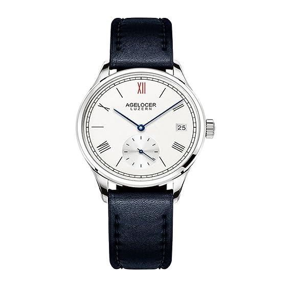 agelocer vestido de lujo de las mujeres relojes oro rosa esfera blanca reloj con fecha pequeño