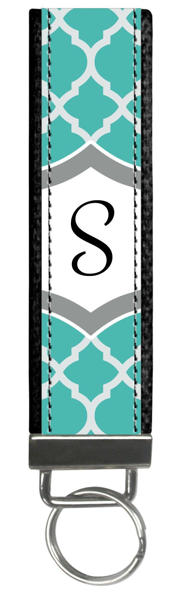 Snaptotes Teal Moroccan Design Monogram Wristlet Keyfob Keychain,Letter S