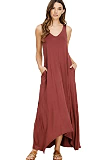 42854f13f0 Annabelle Women's Casual V Neck Sleeveless Tank Top Long Maxi Dresses  Pockets Small Berry D5291