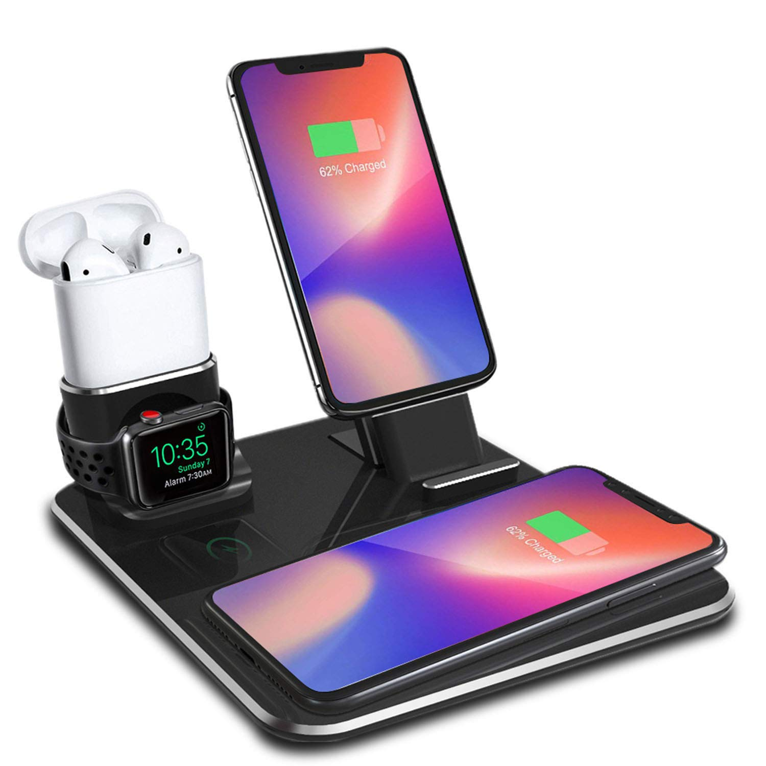 Charging Wireless Dock, Two Phone Stand Holder, Aluminum Charger Station Compatible iPhone X/XS/XS Max/8/8Plus/Samsung Galaxy S9/S9Plus, Compatible Apple watch/Airpods/iPhone7/7p/6/6Plus