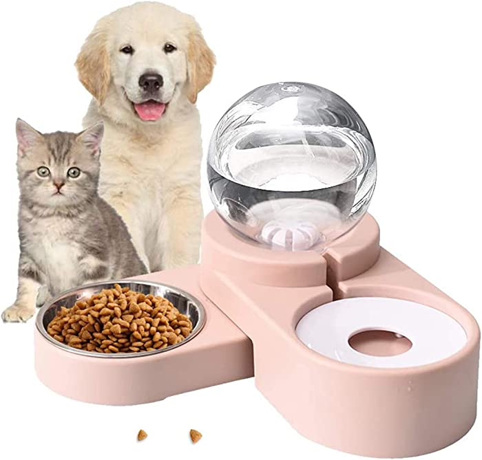 PetFun 2 in1 Pet Bowls Set Automatic Water Dispenser, No-Spill Dog Water Bowl & Dish Stainless Steel Durable & Detachable Feeder Bowl for Cats & Dogs