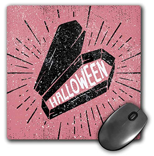 3dRose Sven Herkenrath Celebration - Happy Halloween with Pink Background and Casket - Mousepad (mp_294692_1) -