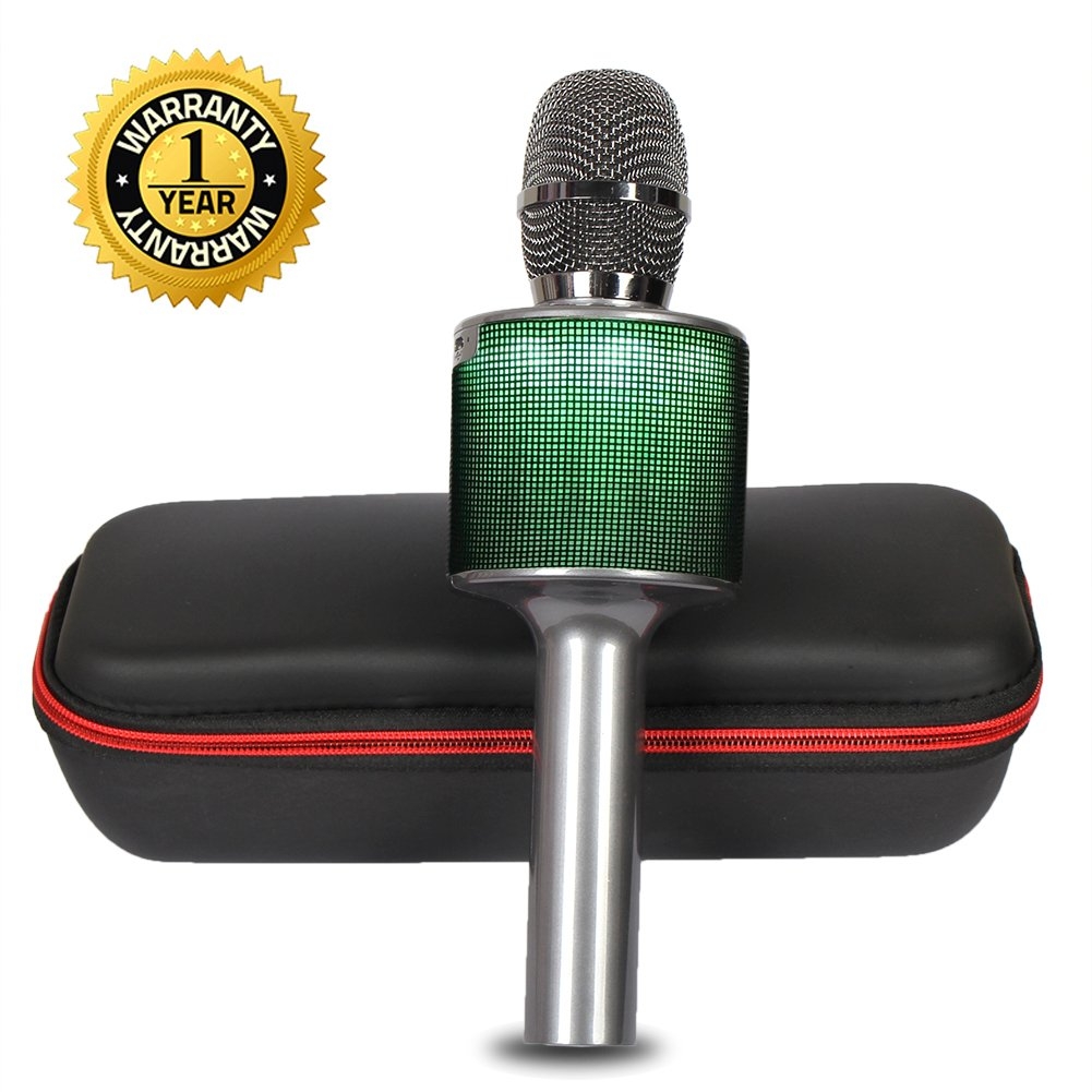 Karaoke Microphone Wireless Bluetooth Microphone for Kids Adults Family Duet Singing with LED Lights Portable Karaoke Machine Singing Home KTV Party for iPhone Android iPad PC (Black)