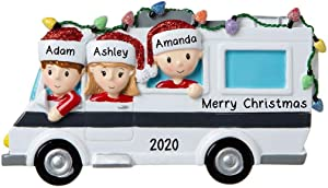 Personalized Motor Home Vacation RV Family Christmas Tree Ornament Present Gift -Free Personalized (Family of 3)