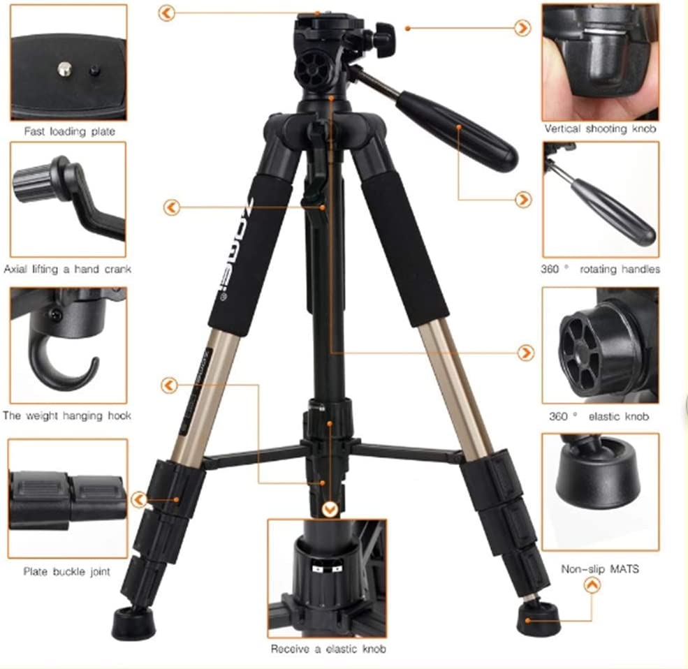 Mengen88 Flexible Travel Camera Tripod 55-Inch Tripod with 3-Way Pan Head and Phone Holder Mount for Gopro,Projector,Smartphones to Live Broadcast