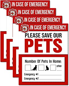 IT'S A SKIN Pet Rescue Sticker Fire Safety - Window Sticker - Save Our Pets Emergency Pet Window Decal - Dog Cat Pet Durable Laminate 4x5-4 Pack