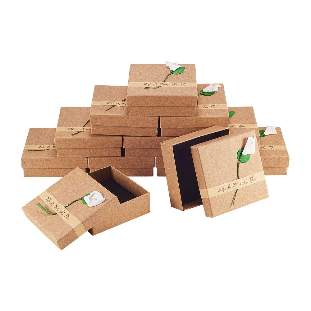 NBEADS Caja de Papel, 12 Paquetes 9x9x3 cm Caja de cartón ...