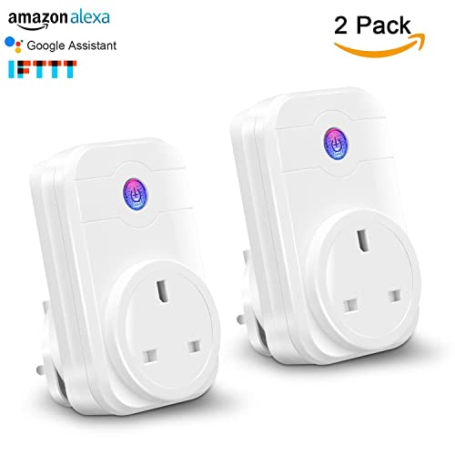 YTE Wifi Smart Plug,Work With Amazon Alexa Google Assistant,Wireless Socket Outlet,No Hub Required,Remote Control Plug Timer by Smart Phone From Anywhere(2 Pack)
