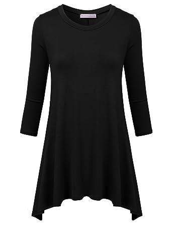 be42f3ce020 FLORIA Women 3/4 Sleeve Crewneck Flare Hem Loose-fit Tunic Top BLACK S