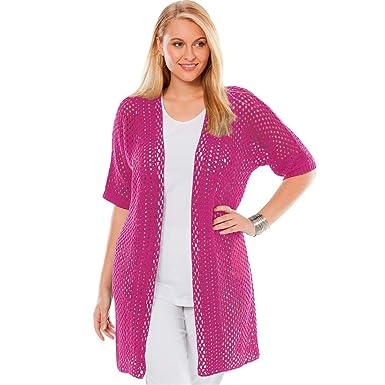 18247ab53 Jessica London Women s Plus Size Crochet Duster Sweater - Bright Berry