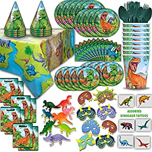 Dinosaur Party Supplies and Favors - Big and Small Plates, Cups, Napkins, Loot Bags, Table Cover, Cutlery, Loot bags, Masks, Hats, Mini Toy Dinosaurs, Tattoos - Great for Birthdays and More