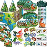 Dinosaur Party Supplies and Favors - 16 Guest - Big and Small Plates, Cups, Napkins, Loot Bags, Tablecovers, Cutlery, Loot bags, Masks, Hats, Mini Toy Dinosaurs, Tattoos - Great for Birthdays and More