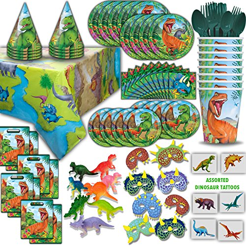 Dinosaur Party Supplies and Favors - 16 Guest - Big and Small Plates, Cups, Napkins, Loot Bags, Tablecovers, Cutlery, Loot bags, Masks, Hats, Mini Toy Dinosaurs, Tattoos - Great for Birthdays and More (Napkin Dinosaur)
