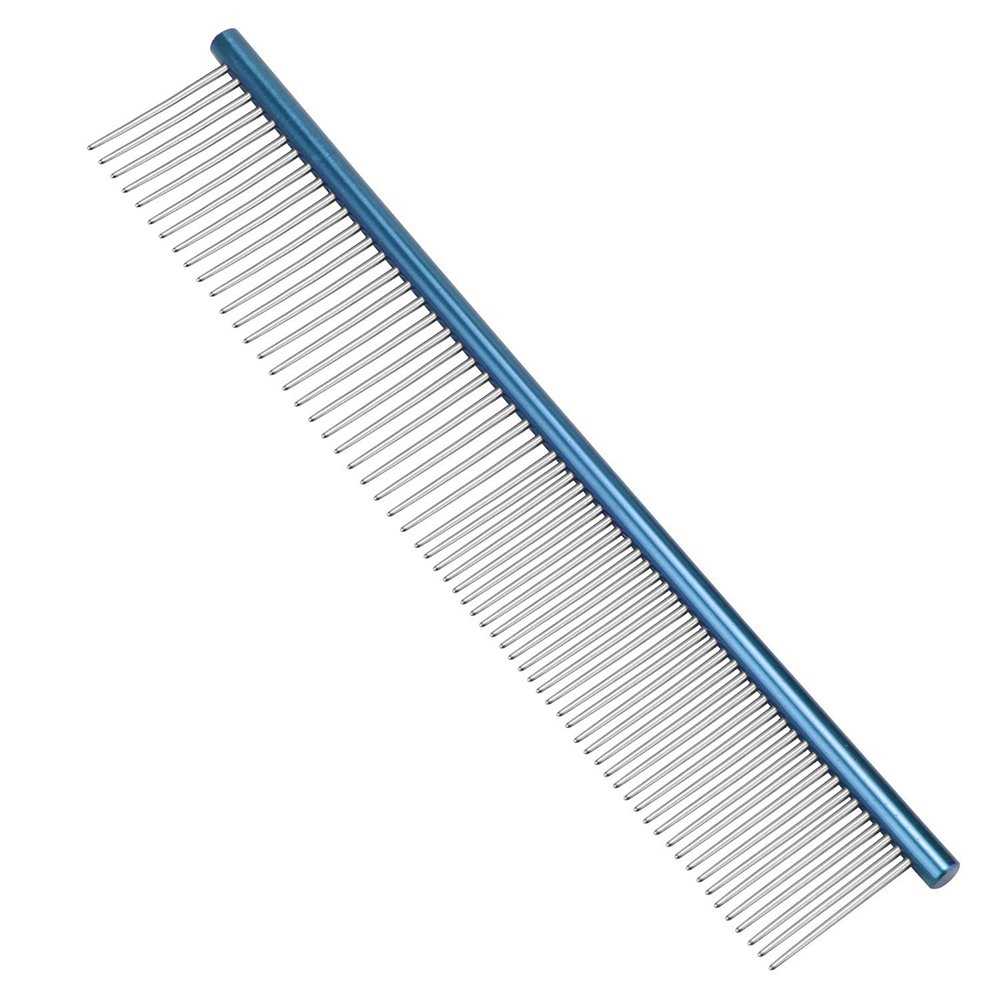 ACTLATI Durable Pets Straight Comb Lightweight Stainless Steel Dog Cats Hair Grooming Tool Blue