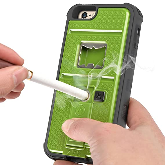 best website c864a ede72 iPhone 6 Case, ZVE Multifunctional Cigarette Lighter Cover for iPhone 6 /  6s 4.7 inch Built-in Cigarette Lighter, Bottle Opener, Camera Stable Tripod  ...