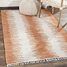 Safavieh MTK751C-8 Montauk Collection Handmade Flatweave Orange Cotton Area Rug (8' x 10')