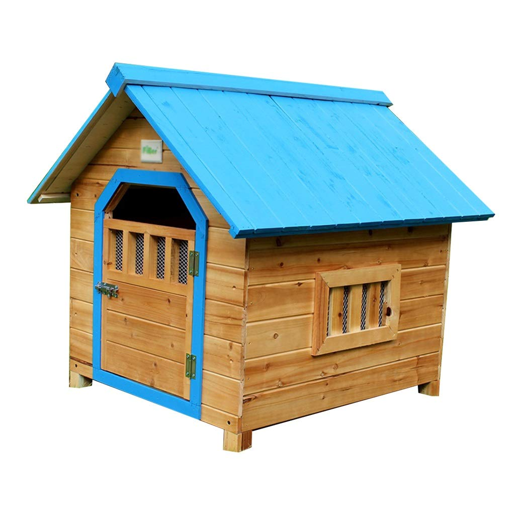 bluee 564548cm bluee 564548cm Cages & Pens Doghouse Pet House Cat Cage Indoor Solid Wood Cat Litter Dog Cage Outdoor Garden Solid Wood Rain Dog House Pet Cage Cat Litter Load Bearing 40kg