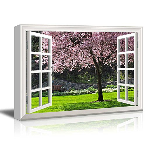 Creative Window View Cherry Blossom in Spring