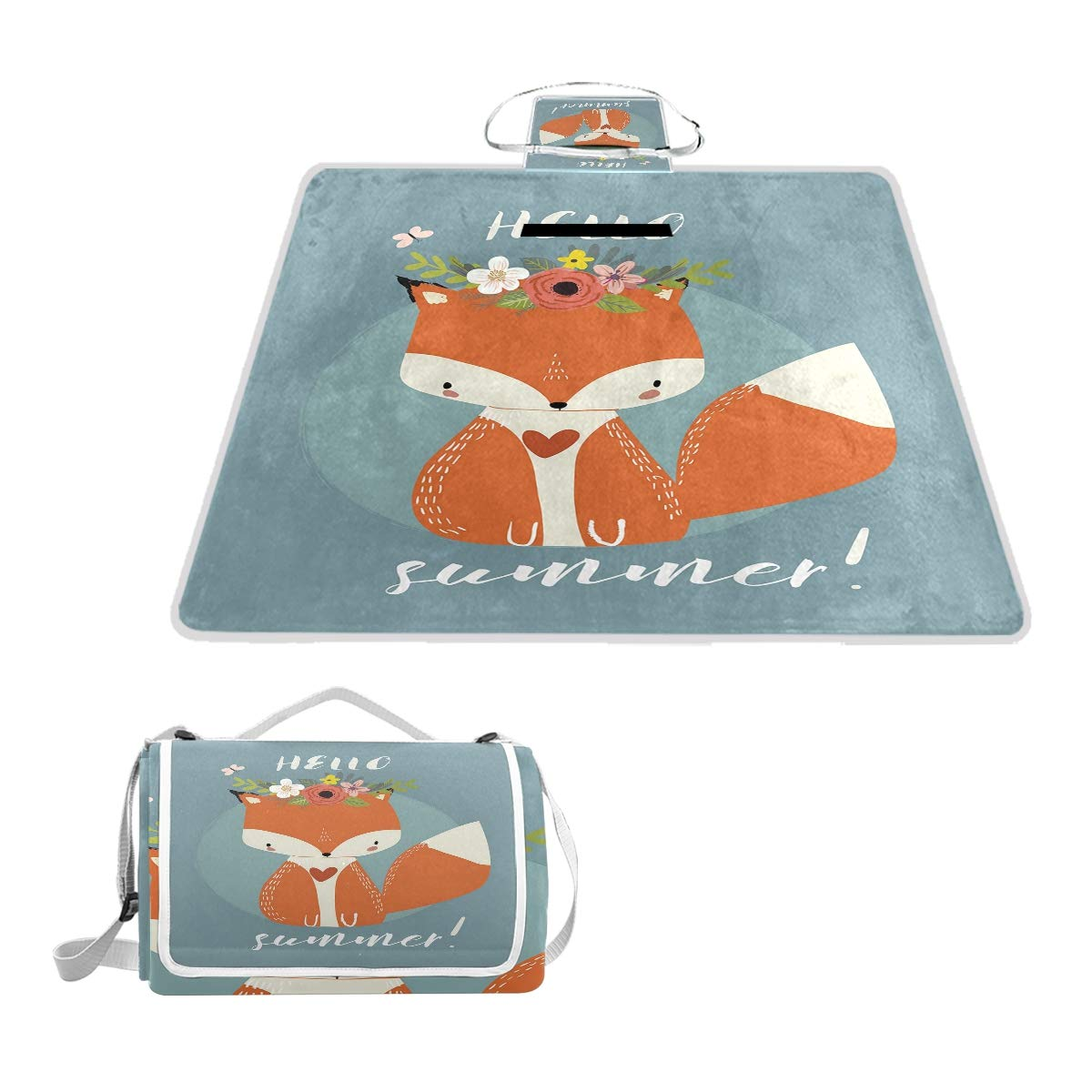 KVMV Greetings to The Coming of Summer Season Drawing Fox with Flourishing Flowers Picnic Mat Sandproof and Waterproof Outdoor Picnic Blanket for Camping Hiking Beach Grass Travel by KVMV