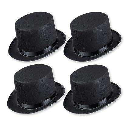 Sombrero de copa para disfraz (para adultos, 4 unidades), color negro.