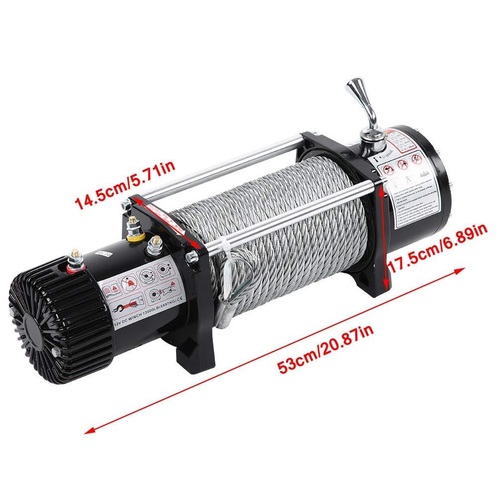 Verricello Elettrico 13000lbs 12V Filo dacciaio a distanza senza fili della corda sintetica di recupero dellargano elettrico per Auto ATV Truck Boat Trailer Quad