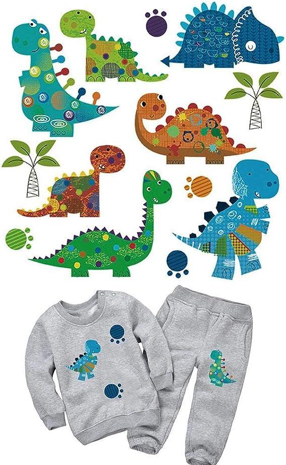 su-xuri Parches Pegatinas De Ropa Planchar Transferencia Térmica para Bebe Niños Etiqueta De Tela De Impresión De Bricolaje Patrón De Dinosaurio Animal Camisetas Decoración De Dibujos Animados: Amazon.es: Hogar