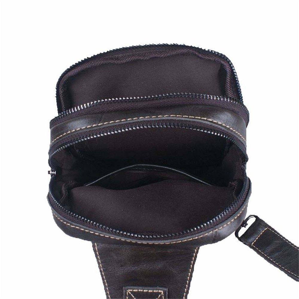 FeliciaJuan Mens Chest Bag Waterproof Zipper Leather Messenger Bag Shoulder Bag Retro Black