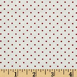 Moda Essential Dots (#8654-51) White/Red Fabric By The Yard
