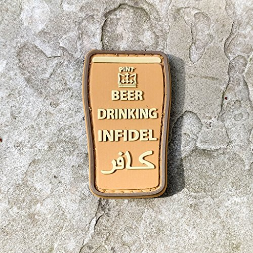 Beer Drinking Infidel PVC Rubber Morale Patch - Military and Airsoft Morale Patch Hook Backed By NEO Tactical Gear (Coyote) (International Beer Shipping)