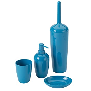 Set de 4 accessoires salle de bain/Toilette Plastique Bleu: Amazon ...
