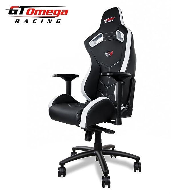 GT Omega Deporte Silla de Oficina de Piel, diseño Deportivo, Color Blanco y Negro: Amazon.es: Hogar
