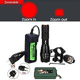 VASTFIRE 250 yard Zoom able Adjustable Focus Red light LED Flashlight Kit Set for Night Vision Coyote Hog Pig Varmint Predator Hunting