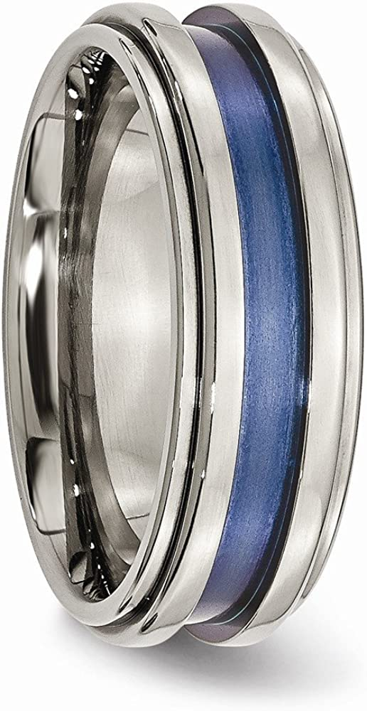 Titanium with Blue Triple Groove 8mm Polished Band.