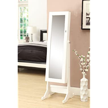 White Mirrored Jewelry Cabinet Armoire W Stand Mirror Rings, Necklaces, Bracelets
