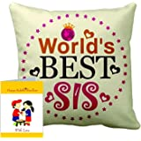 """TECHBITE Rakhi gift for sister Rakhi gift for sister rakhi gift rakshabandhan gift ideas online send rakhi gifts to india personalized gifts online customized present happy birthday gift for brother birthday gift for sister 12"""" x 12"""" cushion cover with filler + Greeting Card"""