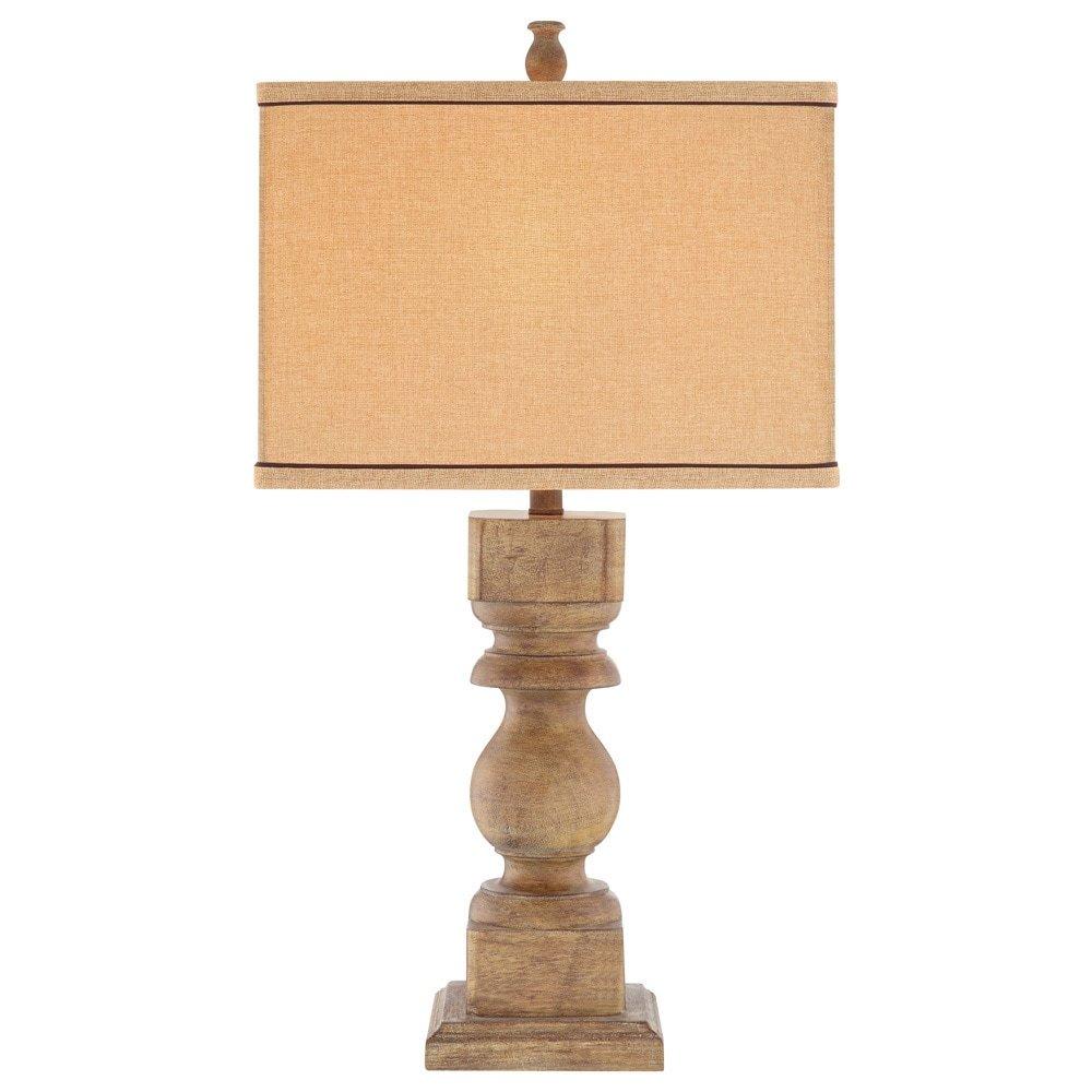 Catalina 19091-000 3-Way Distressed Faux Wood Table Lamp with Rectangular Linen Hardback Shade, 30''