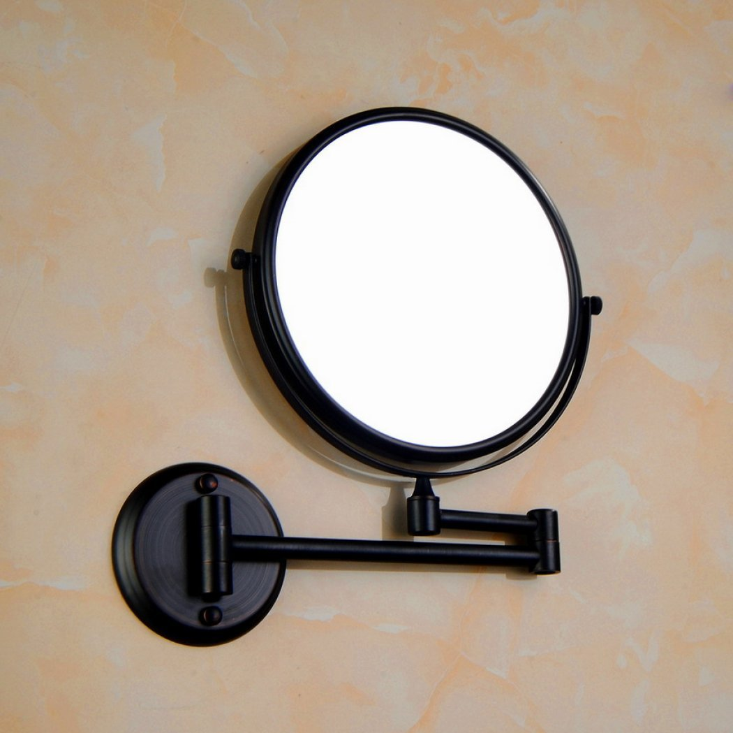 AGAOLIGUO Hotel Bathroom Mirror Double Sided Swivel 360 Degree Rotating Vanity Mirror 1x/3x magnification Wall Mount Folding Swivel Makeup Mirror,black_8inch