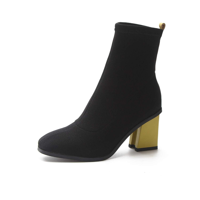 Qiusa High Heels Rough mit mit mit Martin Stiefeln Spitze Stiefel, hoher Absatz, Damenstiefel, Dicke und elastische Damen (Farbe   38, Größe   Gelb) 2d5833
