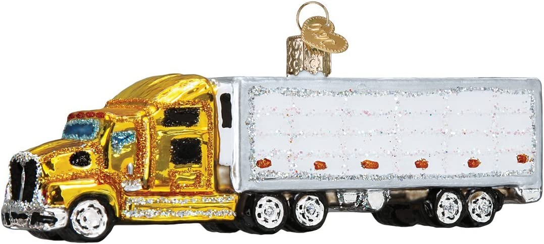 Old World Christmas Planes, Trains, Helicopters, Boats Glass Blown Ornaments for Christmas Tree Semi Truck