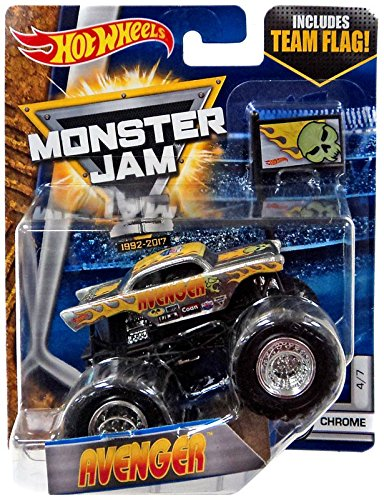 2017 Hot Wheels Monster Jam 1:64 Scale with Team Flag - Avenger Chrome 4/7 ( '57 chevy)