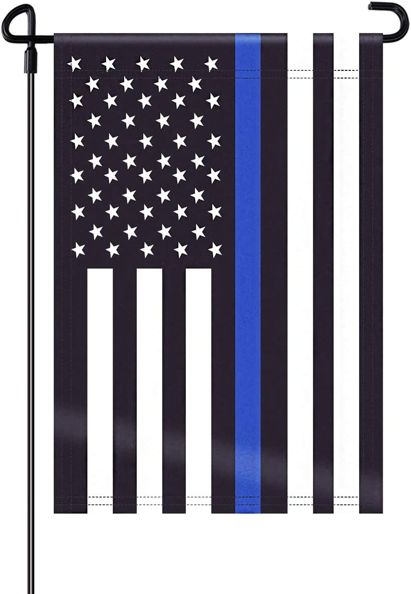 Gmeitoey Police Thin Blue Line Garden Flag 12.5x18 Inch- Blue Stripe American Police Double Sided Yard Flags Banner Lawn Outdoor Decor Vivid Color, Fade Resistant