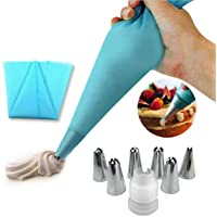 Icing Piping Cream Pastry Bag and 6 x Stainless Steel Nozzle Set DIY Cake DIY Decorating Tool with Cleaning Brush and Twist Ties