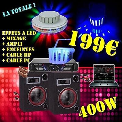 Ibiza Sound – Pack juegos de luces + Pack sono amplificador altavoces 400 W + mesa de mezclas + câblages... Pa DJ LED: Amazon.es: Instrumentos musicales